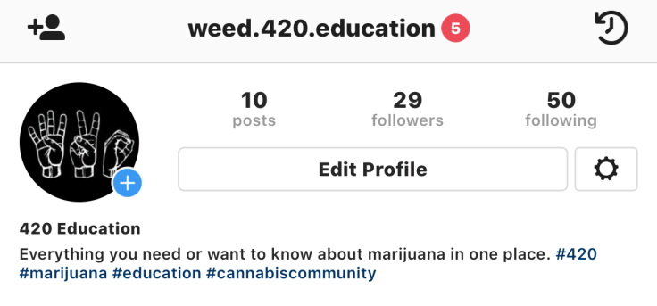 weed 420 education instagram profile