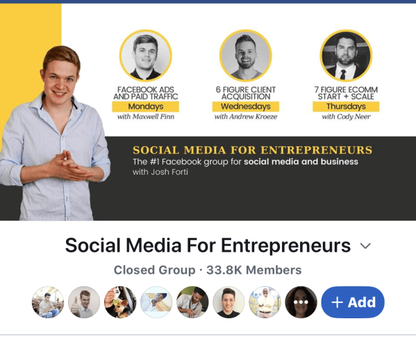facebook group for social media for entrepreneurs