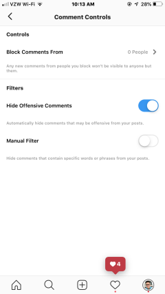 Hiding Offensive Comments On Instagram